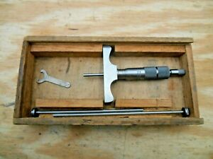 Brown Sharpe No 607 Depth Micrometer 0 3 001 With Wood Case
