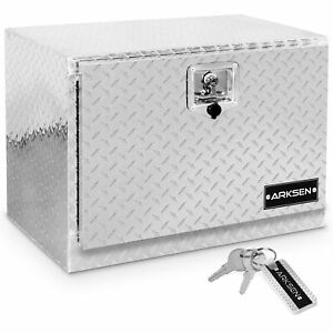 24 Aluminum Diamond Plate Tool Box Silver Truck Atv Trailer Storage Lock W key