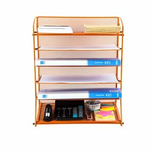 Pro Space Wall Mount Mesh Papers Letters File Organizer 6 Tier Tray orange