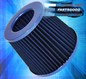Jdm 4 Inch Inlet Cone Air Filter Blue High Flow Short Ram Cold Intake Round