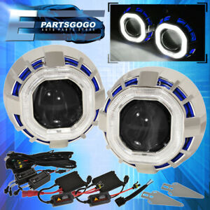 For Nissan Ccfl Halo Ring Projector Headlight Bi Xenon Blue White Hid 6000k