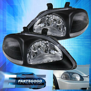For 1996 1998 Honda Civic Jdm Front Black Housing Headlights Clear Corner Lamps