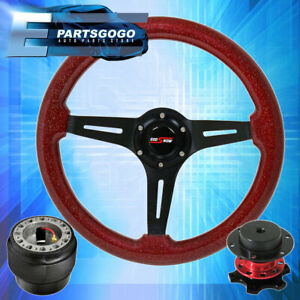 Red Wood Black Center Deep Dish Steering Wheel Quick Release For 90 97 Miata
