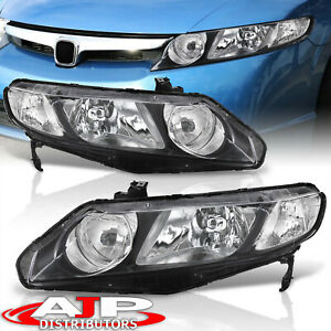 Black Clear Replacement Head Lights Lamps Pair For 2006 2011 Honda Civic 4dr