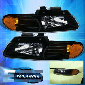 For 1996 2000 Chrysler Town Country Replacement Crystal Black Amber Headlights