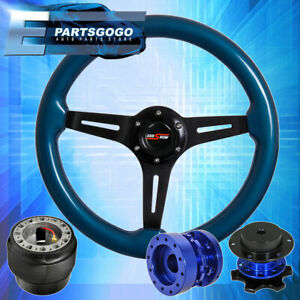 Blue Wood Deep Dish Steering Wheel Quick Release Extender For 90 97 Miata