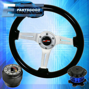 Black Wood Trim Chrome Mid Steering Wheel Blue Quick Release For 90 97 Miata