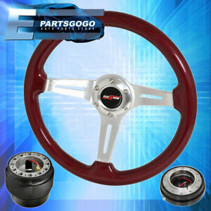 Hub For 90 97 Miata Red Wood Deep Dish Steering Wheel Black Quick Release