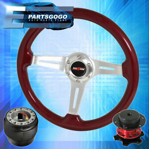 Adapter Red Wood Deep Dish Steering Wheel Red Quick Release For 90 97 Miata