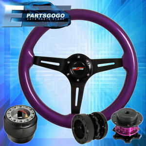Purple Wood Deep Dish Steering Wheel Quick Release Extender For 90 97 Miata