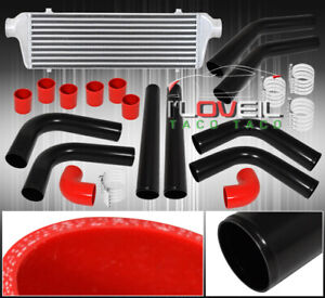 Fmic Bar And Plate Turbo Intercooler Piping Kit Black Red Silicone Couplers Set