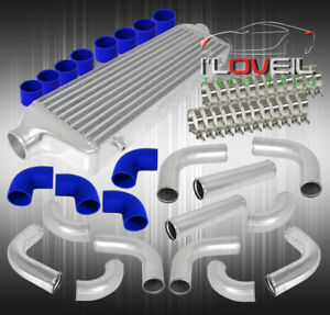 12pc Turbo Piping Kit Bar And Plate Intercooler Set Blue Coupler t bolt Clamps