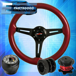 Red Wood Steering Wheel Red Quick Release Black Extender For 90 97 Miata