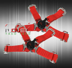 2 X Durable Jdm 4 point Camlock Nylon Racing Seat Belt Harness Straps Red Pair
