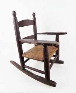 Antique Vintage Child S Wooden Rocking Chair Woven Cane Seat Brown Rustic