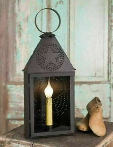 Primitive Small Half Round Metal Lantern W Bulb Punched Star Electric Christmas