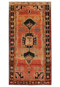 Hand Knotted Tribal Luri Oriental Rug Wool Rust Navy Carpet 4 8 X 8 8