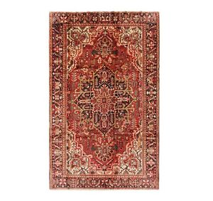 Hand Knotted Heriz Oriental Rug Tribal Wool Red Navy Carpet 7 11 X 11 3