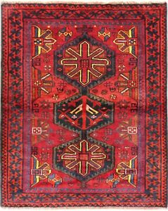 Hand Knotted Luri Tribal Rug Wool Red Blue Oriental Carpet 5 4 X 6