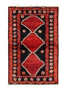 Hand Knotted Luri Tribal Oriental Rug Wool Navy Rust Carpet 4 4 X 6 3