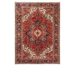 Hand Knotted Heriz Rug Tribal Wool Red Navy Blue Oriental Carpet 7 5 X 9 6