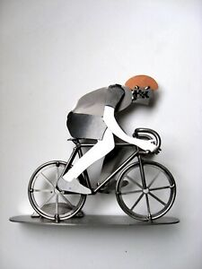 Original Metal Art Cyclist Ride Bicycle Business Card Holder H K Sculptures
