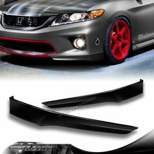 For 13 15 Honda Accord Coupe 2dr Hfp style Black Front Bumper Spoiler Lip 2pc
