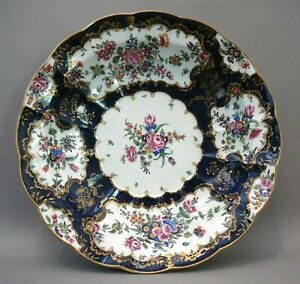 Worcester Porcelain Junket Dish Salad Bowl 1st Period Scale Blue 11 5 Inches