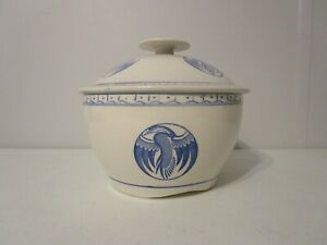 Antique Rice Bowl With Lid Porcelain Blue White Covered Serving Dish W Cranes