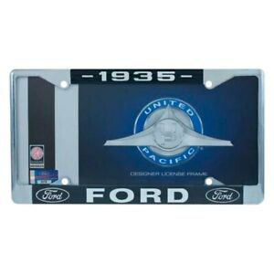 United Pacific Chrome License Plate Frame W 1935 Ford Logo Dual Emblem