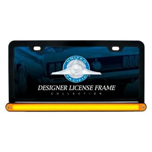 Black License Plate Frame W 24 Amber Led 12 Glo Light Bar Amber Lens