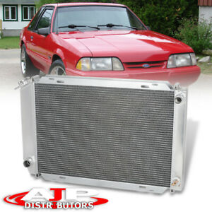 Dual Core Row Full Aluminum Racing Radiator For 1979 1993 Ford Mustang V8 V6 M T