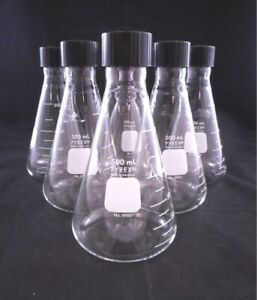 Pyrex Glass 500ml Erlenmeyer Flask Narrow Mouth With Phenolic Screw Cap 6 pack