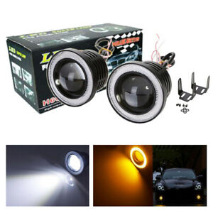 2x 3 5 Inch 3200lm Round Led Fog Lights Lamp With Amber Angel Eyes Halo Ring 12v