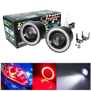 2x 3 High Power Led Fog Lights W Cob Red Angel Eyes Halo Ring Car Driving Lamp