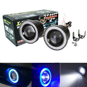 2x 3 Led Projector Lens Fog Driving Light Lamp W Blue Angel Eyes Cob Halo Ring