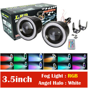 2x 3 5 Rgb Led Projector Fog Lights Driving W White Cob Angel Eyes Halo Rings