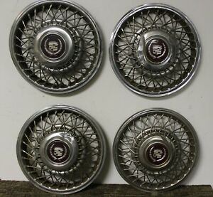 Oem 14 Wire Type Hub Cap Wheel Covers 1633880 1986 88 Cadillac Deville w225