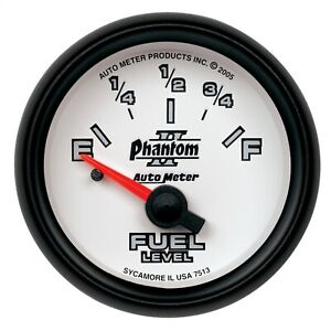 Autometer 7513 Phantom Ii Electric Gauge For Fuel Level With Blue Led Lighting