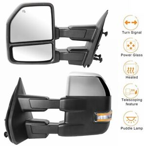 2x Chrome Power Heated Towing Mirrors W Led Turn Signal For 2007 2014 Ford F150