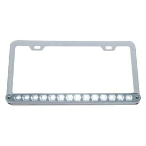 Chrome License Plate Frame W 14 White Led 12 Light Bar Clear Lens