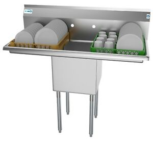 1 Compartment Nsf Stainless Steel Commercial Prep Utility Sink 2 Drainboards