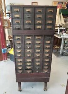 Library Card Catalogue Cabinet 52 Drawer Industrial File Catalog Wood And Metal