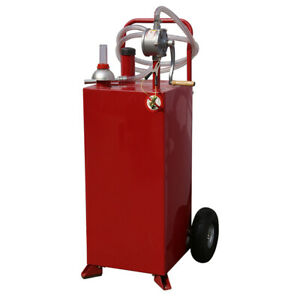 30 35 Gallon Gas Caddy Storage Drum Autos Fuel Transfer Tank W Rotary Pump Hose