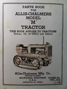 Allis chalmers Dozer A c Crawler Tractor Model m Parts Manual M 6663 up 1939