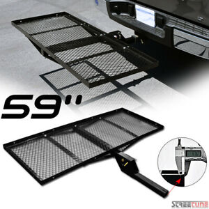 59 Black Mesh Steel Fold Up Bumper Mount Hitch Cargo Tray For 2 x2 Receiver Sd