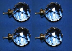 4 Solid Glass Drawer Knobs Antique Look Crystal Cut Design 2 Inch Dia Hw Dl1
