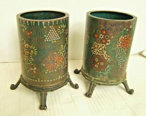 Pair Japanese Cloisonne Cylinder Or Brush Pots On Stands 1840 S
