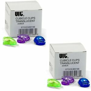 Officemate Standard Cubicle Clips Assorted Translucent Colors 24 box 3 New