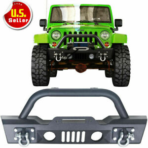 07 18 For Jeep Wrangler Jk Stubby Front Bumper winch Plate Oe Fog Light Housing